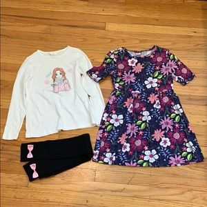 Set of 3: Gymboree Dress, Tights, Top, size 7